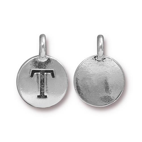T Alphabet Charm, Antiqued Silver Plate, 10 per Pack