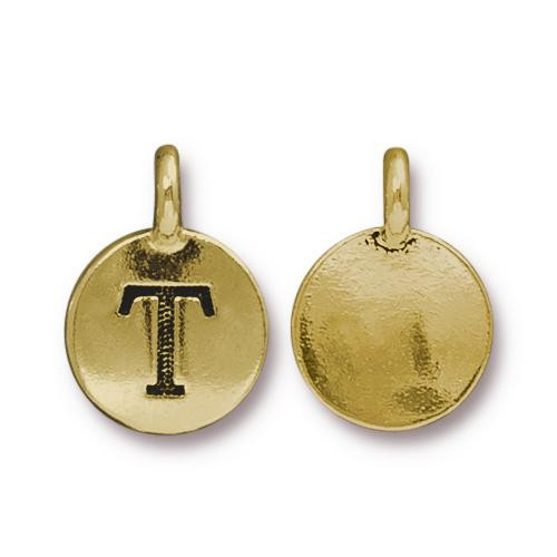 T Alphabet Charm, Antiqued Gold Plate, 10 per Pack