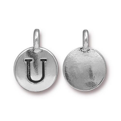 U Alphabet Charm, Antiqued Silver Plate, 10 per Pack