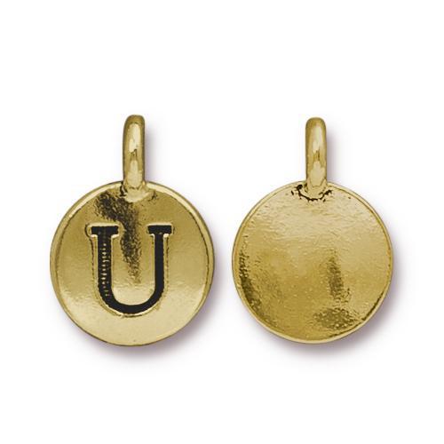 U Alphabet Charm, Antiqued Gold Plate, 10 per Pack