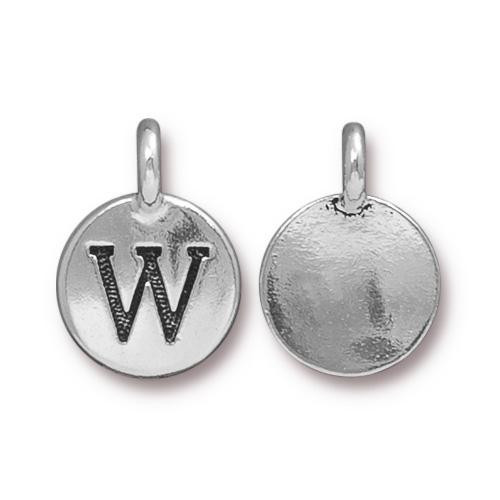 W Alphabet Charm, Antiqued Silver Plate, 10 per Pack