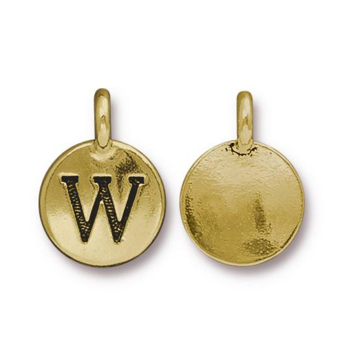 W Alphabet Charm, Antiqued Gold Plate, 10 per Pack