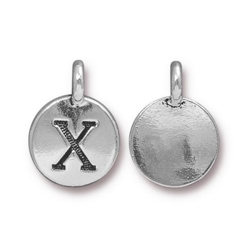 X Alphabet Charm, Antiqued Silver Plate, 10 per Pack
