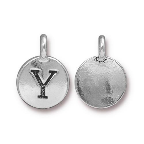 Y Alphabet Charm, Antiqued Silver Plate, 10 per Pack