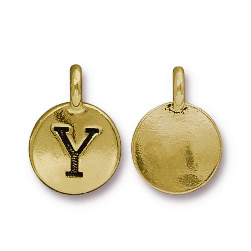 Y Alphabet Charm, Antiqued Gold Plate, 10 per Pack