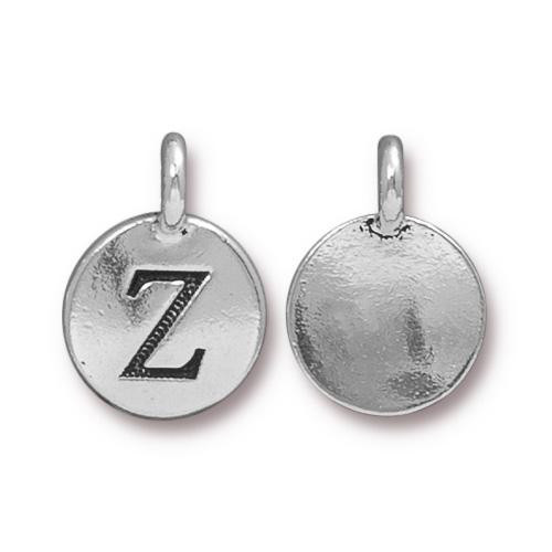 Z Alphabet Charm, Antiqued Silver Plate, 10 per Pack