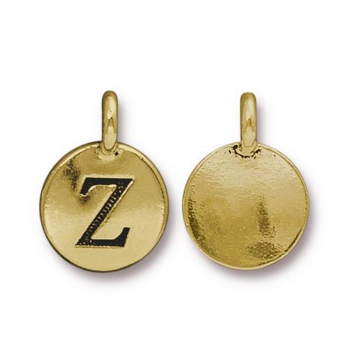 Z Alphabet Charm, Antiqued Gold Plate, 10 per Pack
