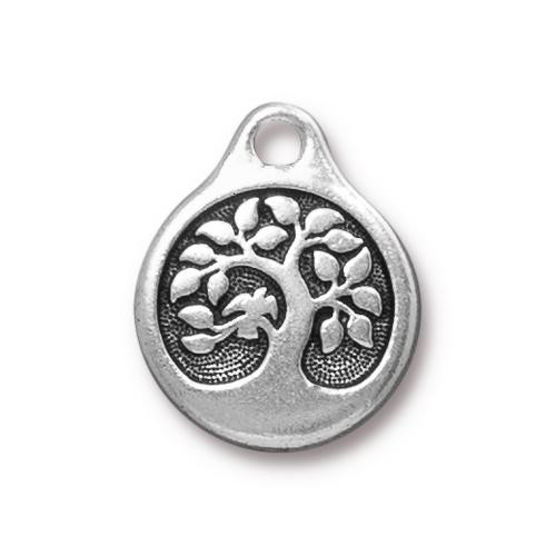 Bird In A Tree Charm, Antiqued Silver Plate, 20 per Pack
