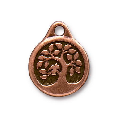 Bird In A Tree Charm, Antiqued Copper Plate, 20 per Pack