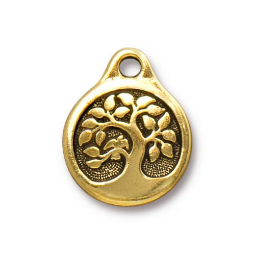 Bird In A Tree Charm, Antiqued Gold Plate, 20 per Pack