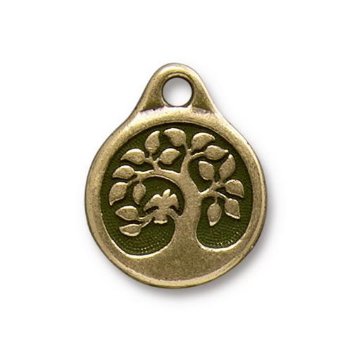 Bird In A Tree Charm, Oxidized Brass Plate, 20 per Pack