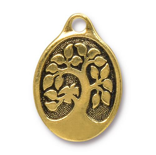 Bird In A Tree Pendant, Antiqued Gold Plate, 10 per Pack