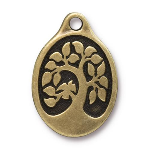 Bird In A Tree Pendant, Oxidized Brass Plate, 10 per Pack