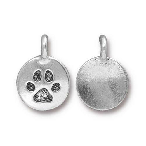 Paw Charm, Antiqued Silver Plate, 20 per Pack