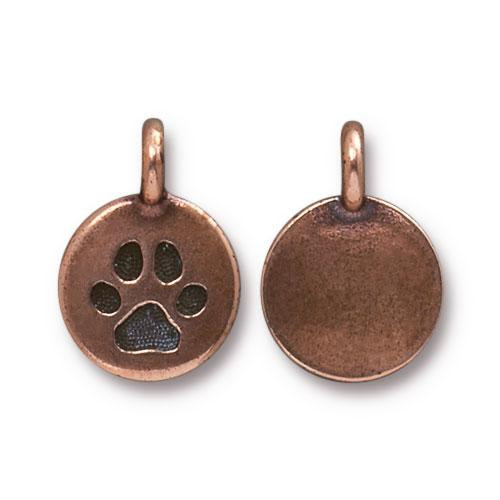 Paw Charm, Antiqued Copper Plate, 20 per Pack