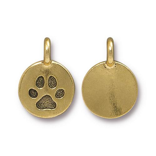 Paw Charm, Antiqued Gold Plate, 20 per Pack