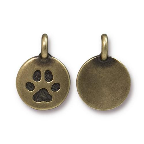 Paw Charm, Oxidized Brass Plate, 20 per Pack