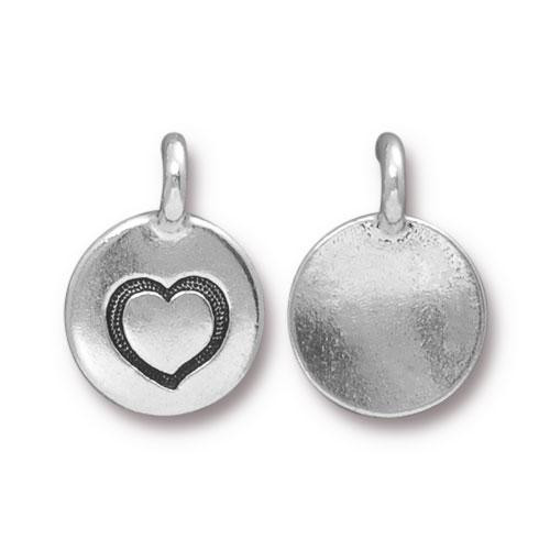 Heart Charm, Antiqued Silver Plate, 20 per Pack