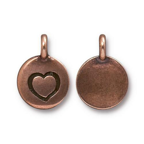 Heart Charm, Antiqued Copper Plate, 20 per Pack