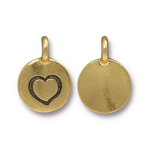 Heart Charm, Antiqued Gold Plate, 20 per Pack