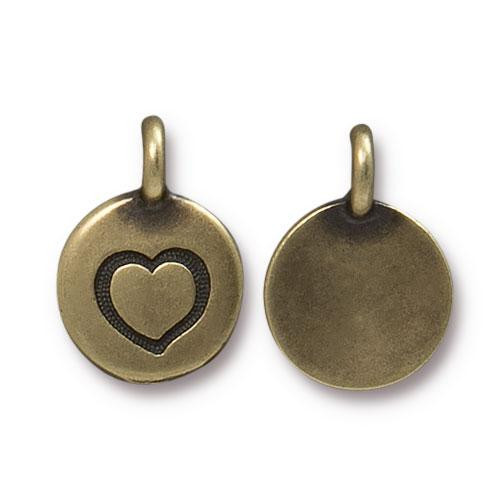 Heart Charm, Oxidized Brass Plate, 20 per Pack