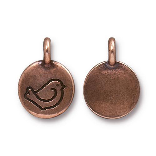 Fat Bird Charm, Antiqued Copper Plate, 20 per Pack
