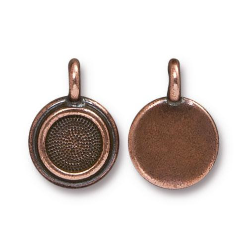 SS34 Stepped Bezel Charm, Antiqued Copper Plate, 20 per Pack
