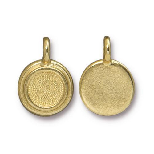 SS34 Stepped Bezel Charm, Gold Plate, 20 per Pack