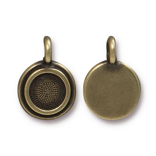 SS34 Stepped Bezel Charm, Oxidized Brass Plate, 20 per Pack