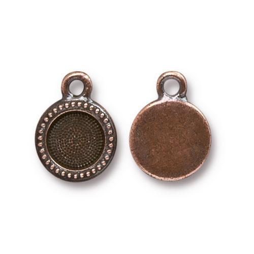 SS34 Beaded Bezel Drop, Antiqued Copper Plate, 20 per Pack