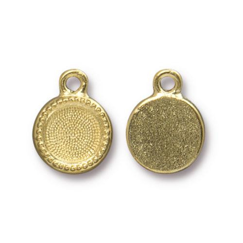 SS34 Beaded Bezel Drop, Gold Plate, 20 per Pack