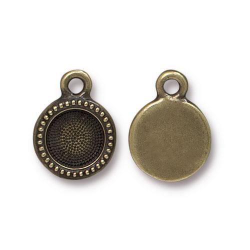 SS34 Beaded Bezel Drop, Oxidized Brass Plate, 20 per Pack