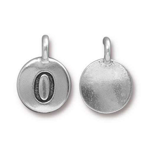 Clearance: Number 0 Charm, Antiqued Silver Plate, 10 per Pack