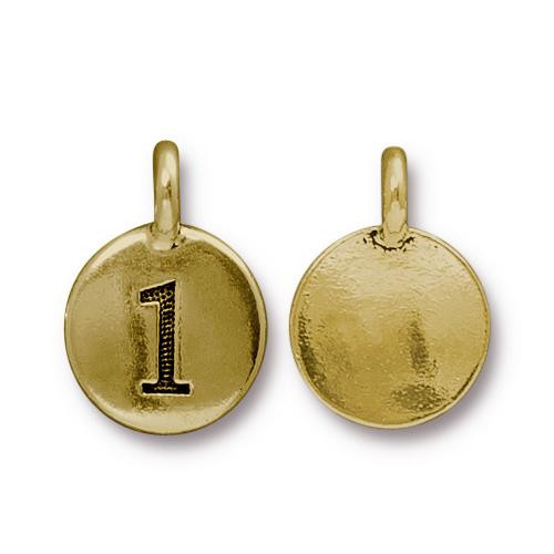 Number 1 Charm, Antiqued Gold Plate, 10 per Pack