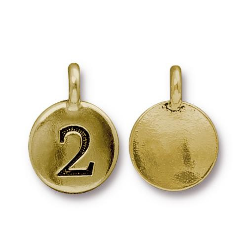Number 2 Charm, Antiqued Gold Plate, 10 per Pack