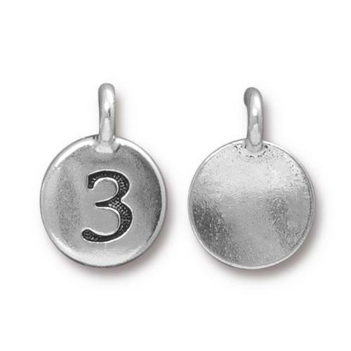 Clearance: Number 3 Charm, Antiqued Silver Plate, 10 per Pack