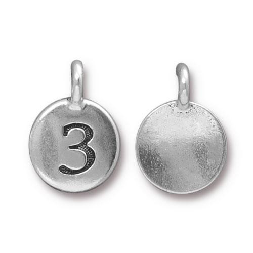 Number 3 Charm, Antiqued Silver Plate, 10 per Pack