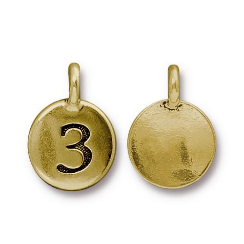 Number 3 Charm, Antiqued Gold Plate, 10 per Pack