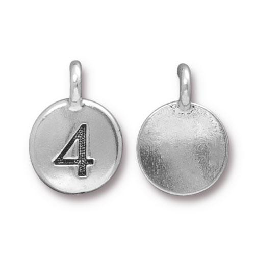 Clearance: Number 4 Charm, Antiqued Silver Plate, 10 per Pack
