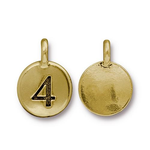 Clearance: Number 4 Charm, Antiqued Gold Plate, 10 per Pack