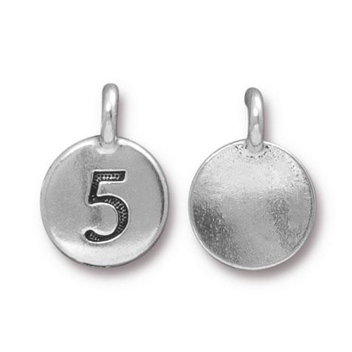 Clearance: Number 5 Charm, Antiqued Silver Plate, 10 per Pack
