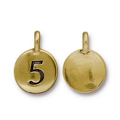 Number 5 Charm, Antiqued Gold Plate, 10 per Pack
