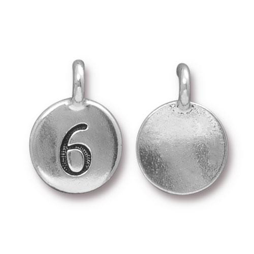 Number 6 Charm, Antiqued Silver Plate, 10 per Pack