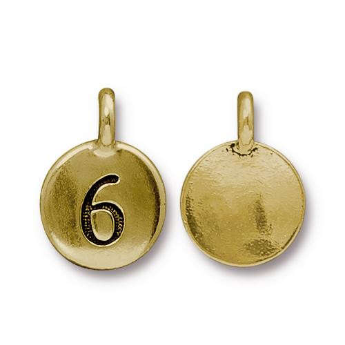 Clearance: Number 6 Charm, Antiqued Gold Plate, 10 per Pack
