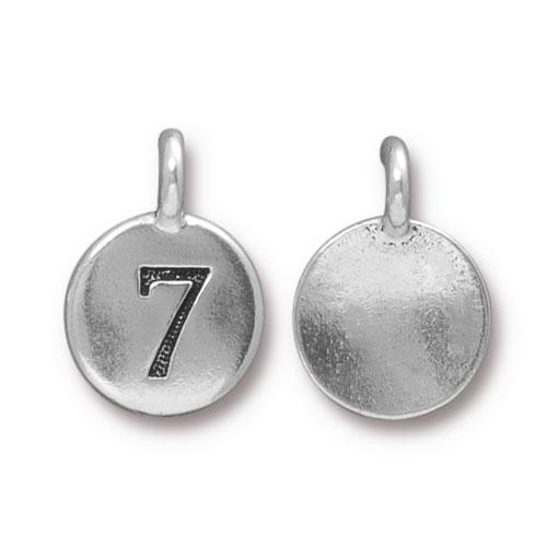 Clearance: Number 7 Charm, Antiqued Silver Plate, 10 per Pack