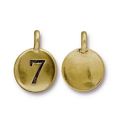 Clearance: Number 7 Charm, Antiqued Gold Plate, 10 per Pack