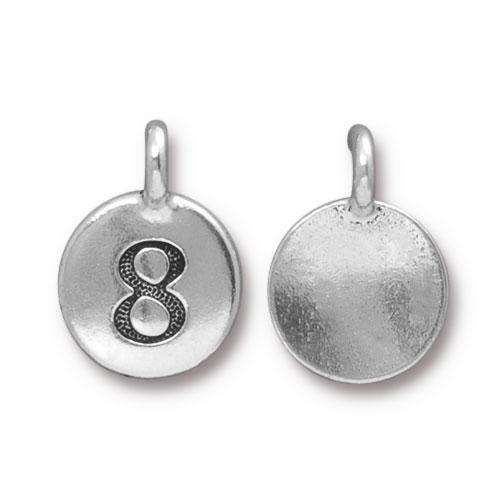 Clearance: Number 8 Charm, Antiqued Silver Plate, 10 per Pack