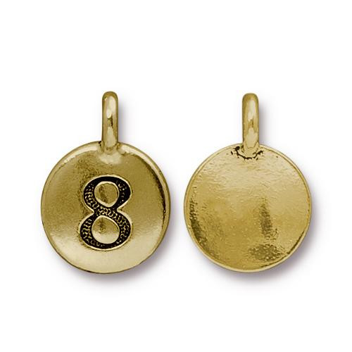 Number 8 Charm, Antiqued Gold Plate, 10 per Pack