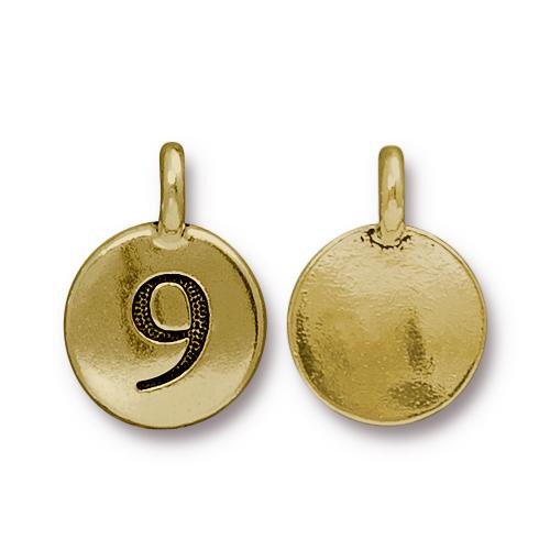 Clearance: Number 9 Charm, Antiqued Gold Plate, 10 per Pack