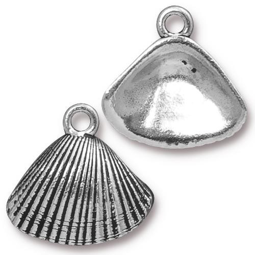 Shell Charm, Antiqued Silver Plate, 20 per Pack